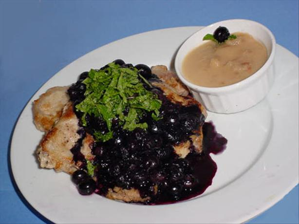 Caputo's Pork Chops With Pear Puree And Blueberries