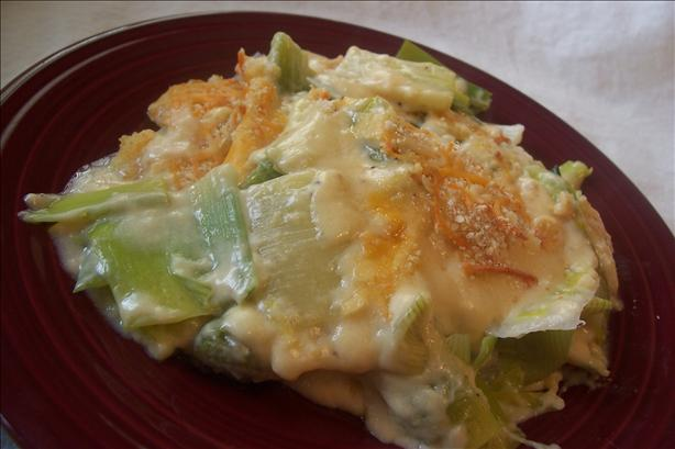 Leeks with mustards and cheese