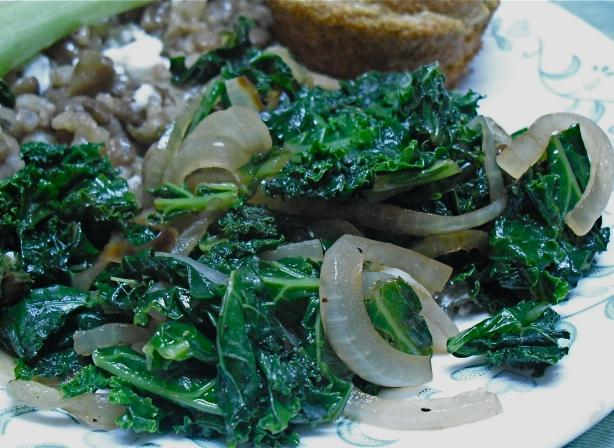 Kale With Caramelized Onions and Garlic