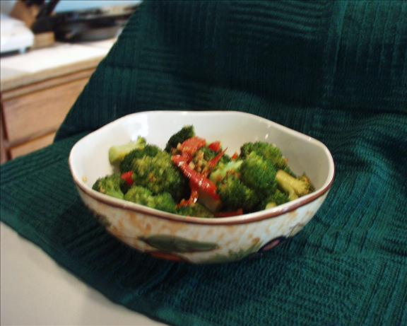 Festive Broccoli with Buttered Red Pepper