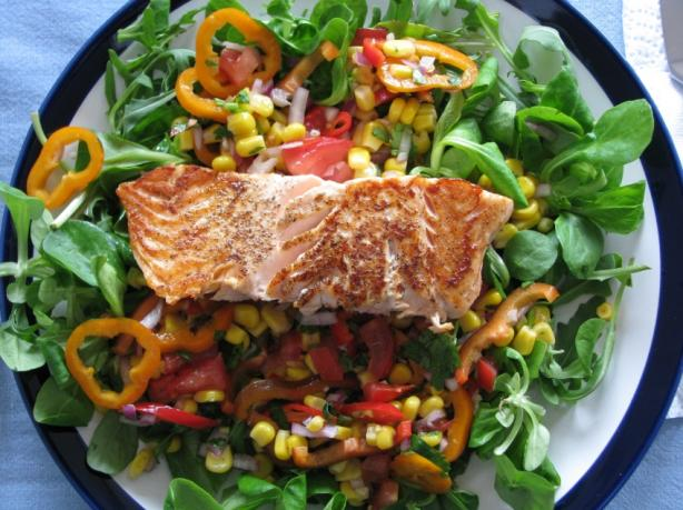 Fragrant Salmon and Sesame Corn Salad