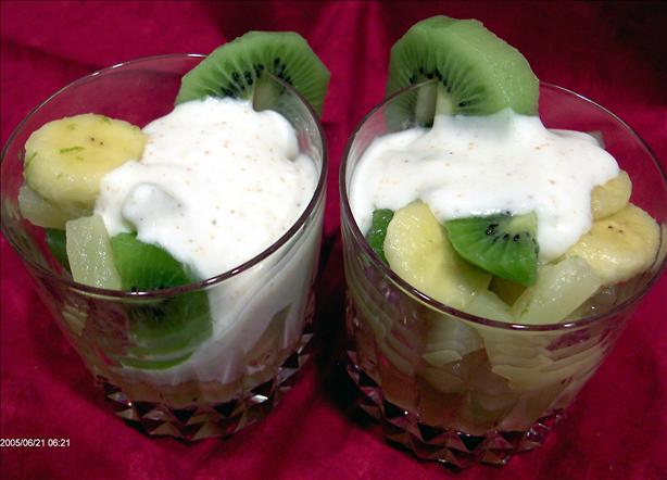 Fresh Fruit Salad With Lime Cream
