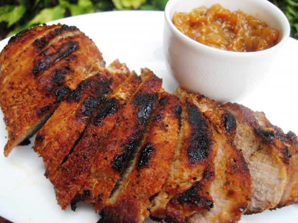 Spiked Pork Tenderloin with Sunny Pear Chutney