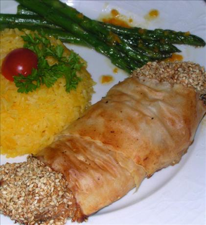 Sesame-Lemon Chicken with a Crisp Phyllo Crust