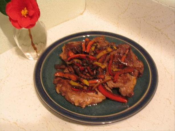 Pan-Grilled Steak with Balsamic Peppers