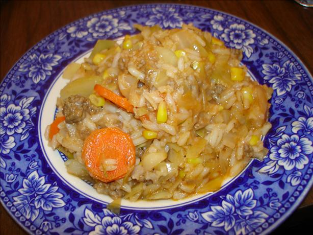 Ground Beef, Rice and Cabbage Hot Pot