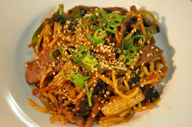 Spicy pepper beef with noodles