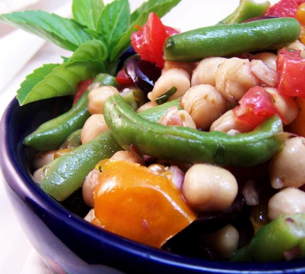 Warm Bean and Tomato Salad with Basil