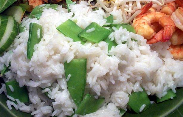 Steamed Ginger Rice with Snow Peas
