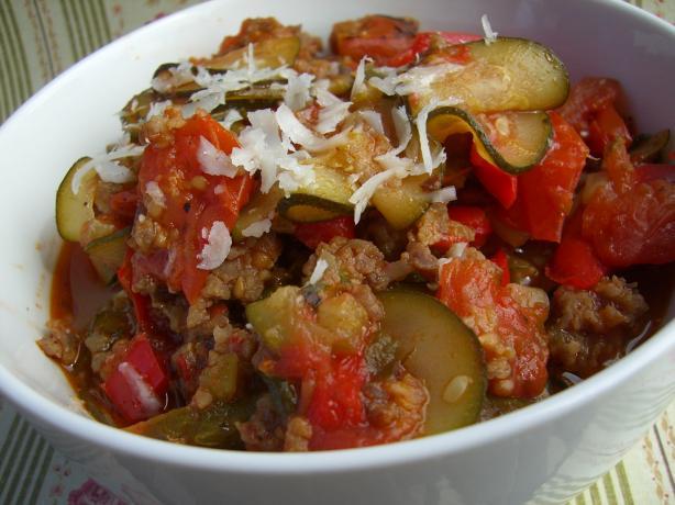 Mild Italian Sausage, Tomato & Zucchini Stew