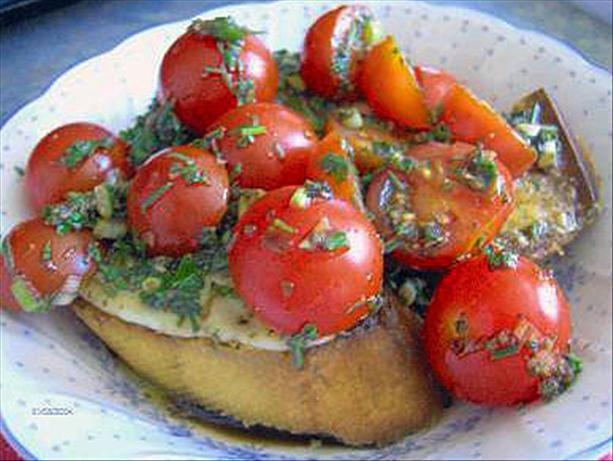 Cherry Tomatoes on Provolone Garlic Bread