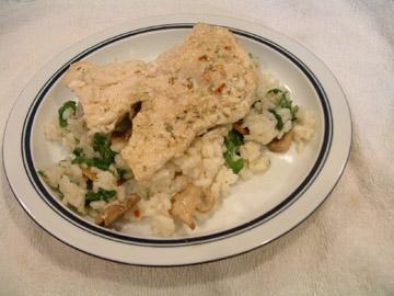 Arugula and Mozzarella Arborio (Risotto) With Grilled Chicken