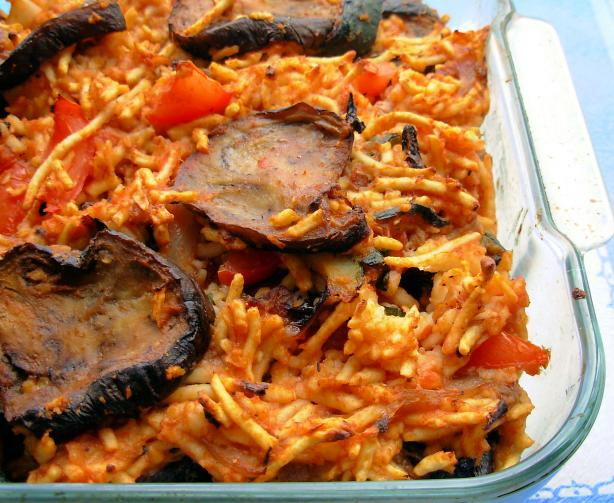 Baked Noodles and Eggplant