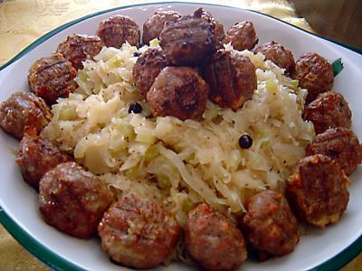 Polish Smoked Meatballs With Savory Kraut