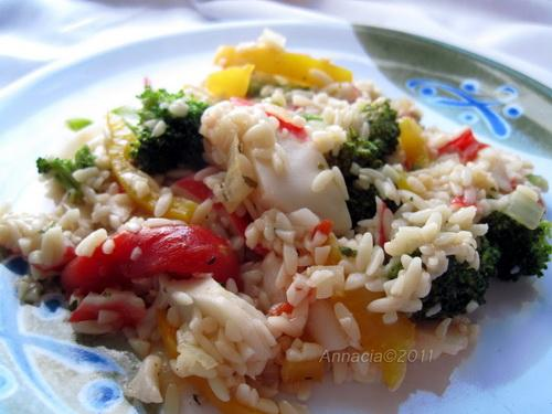 Imitation Crab, Orzo and Veggie Skillet