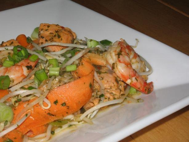 Prawn and Salmon Stir Fry With Lemon Grass and Mint