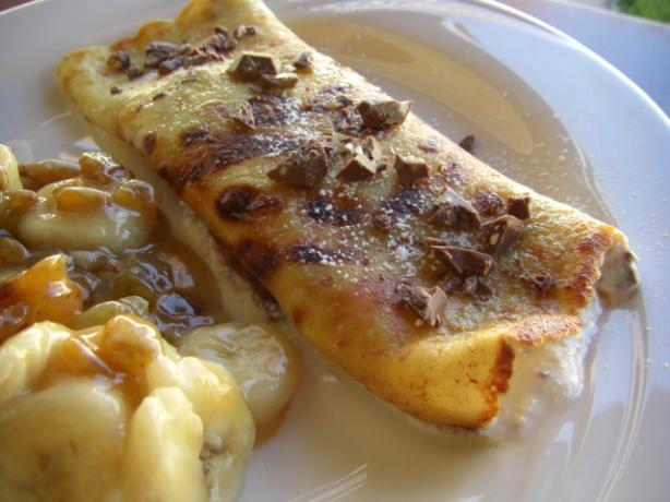 Pancakes Filled With Ricotta and Toblerone