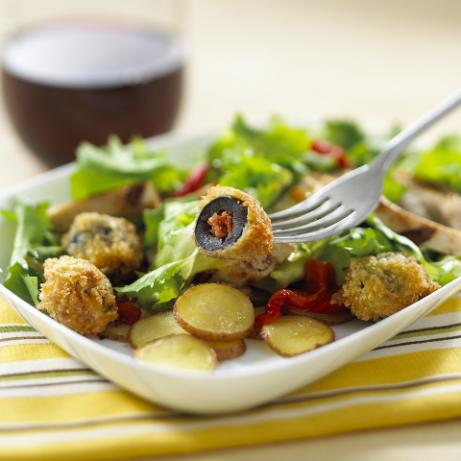 Grilled Chicken Salad With Chorizo-Stuffed Olives in Citrus Vina