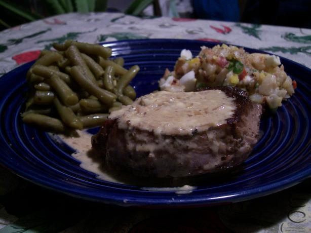 Tender Beef Smothered in Stilton Cheese Sauce