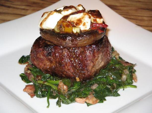 Vaquero Steaks With Pepper Relish and Goat Cheese