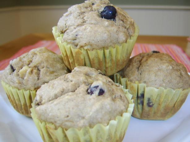 Banana Blueberry Wheat Muffins