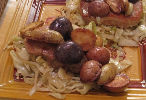 Garlic Pork Cutlets With Buttered Cabbage