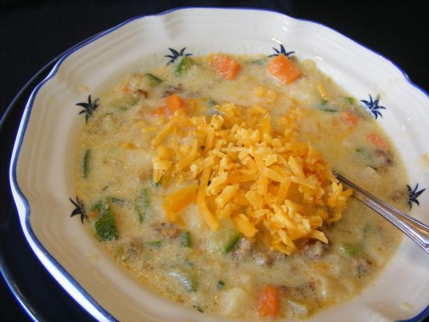 Cheesy Zucchini Sausage Soup