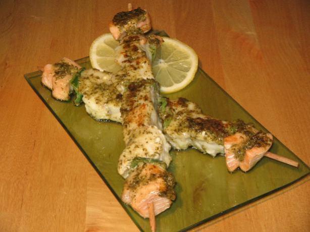 Pesto Fish Kebabas