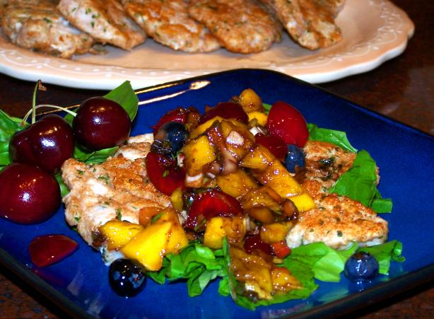 Pork Scaloppine over Greens With Summer Fruit Salsa
