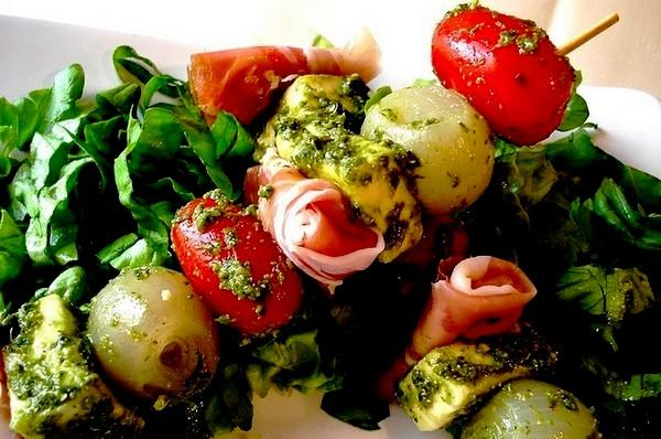 Appetizer Pesto Salad Kebabs