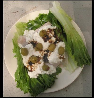 Cottage Cheese and Olive Turkey Wrap
