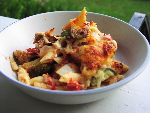 Rustic Baked Pasta With Roasted Vegetables and Sausage