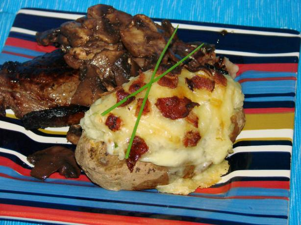 Microwave Version of Twice Baked Potatoes With Cheese and Bacon