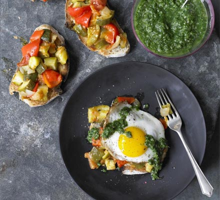 Braised summer vegetable pisto with emerald sauce & fried egg