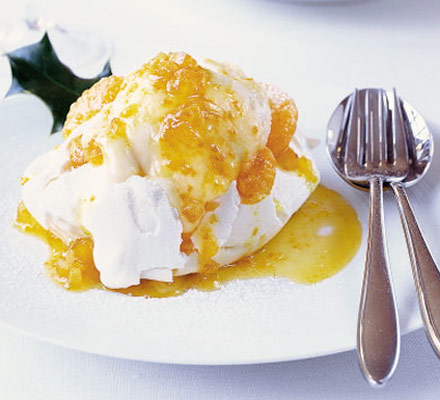 Tangerine curd ice cream with marshmallow meringues