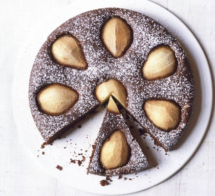 Flourless chocolate & pear cake