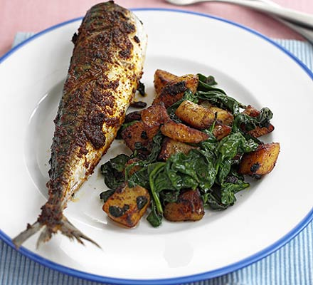 Devilled mackerel with potatoes & spinach