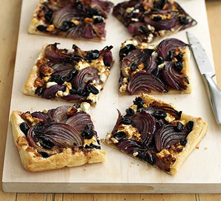Red onion, feta & olive tart