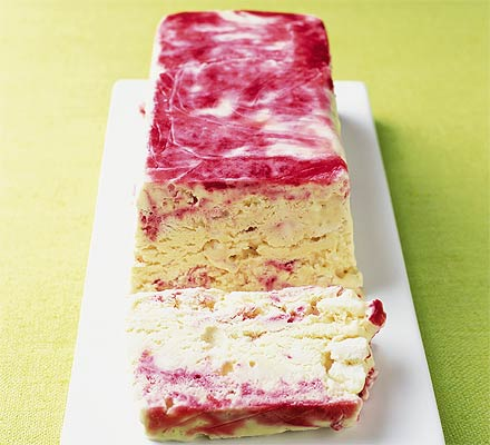 Crunchy raspberry ripple terrine