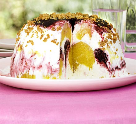 Mango, lime & blackberry bombe