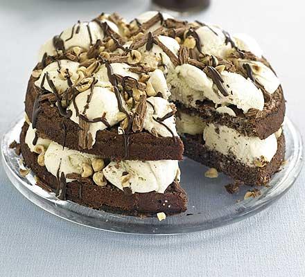 Choc & nut sundae cake