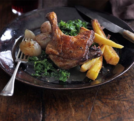 Duck legs braised with Seville oranges