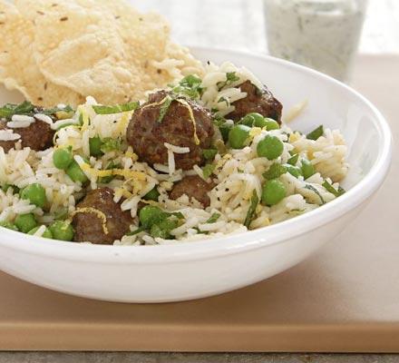 Lamb meatball & pea pilaf