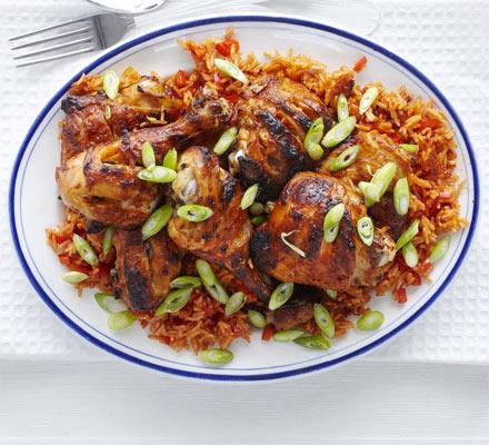 Piri-piri chicken with spicy rice