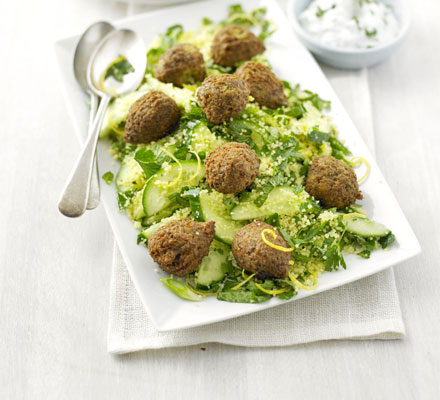 Falafel tabbouleh with lemon yogurt
