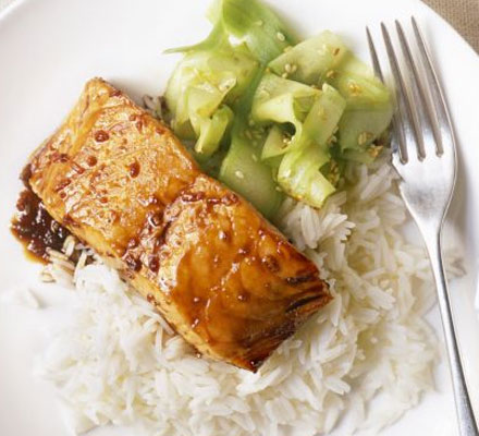 Grilled salmon teriyaki with cucumber salad