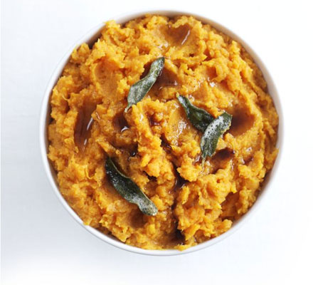 Sweet potato & orange mash with sage butter drizzle