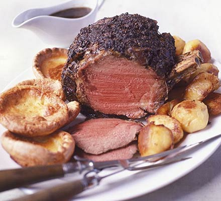 Rare beef with mustard Yorkshires
