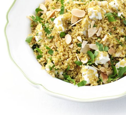 Spiced quinoa with almonds & feta