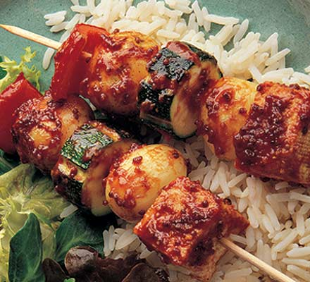 Devilled tofu kebabs